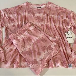Hurley sleep set L pink palm trees top & shorts pj